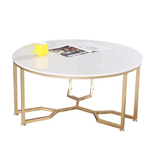 Tavolino da Salotto, Piano in Marmo, Struttura del Tavolo in Ferro battuto, Progettato per l'hotel di casa Moderna, Rotondo, Bianco, Misura Opzionale