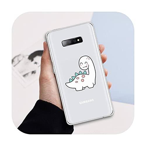 dinosaurio creativo lindo de dibujos animados teléfono caso transparente para Samsung Galaxy A 71 21s s nota 8 9 10 más 20 ultra protector shell-a5-samsung a71