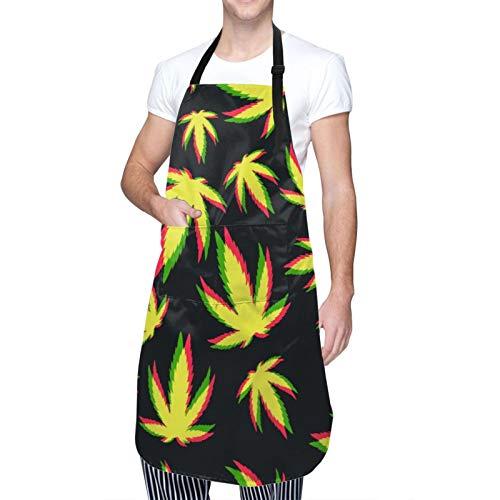 DAHALLAR Ajustable Colgante de Cuello Personalizado Delantal Impermeable,Marihuana verde,Babero de Cocina Vestido para Hombres Mujeres con 2 Bolsillos Centrales