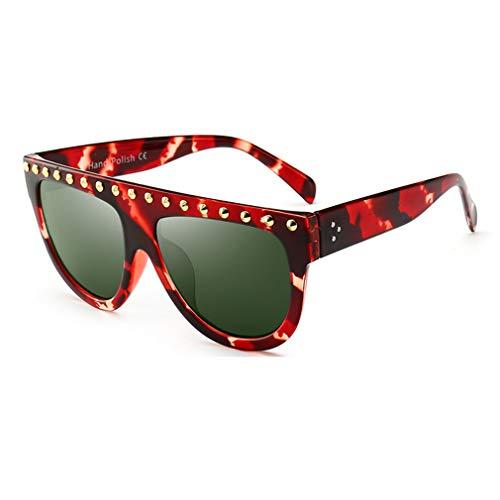 Yuandongxing Flat Top Sonnenbrille Frauen Retro Vintage Sonnenbrille Weibliche UV400 Sonnenbrille Rivet Black Shades