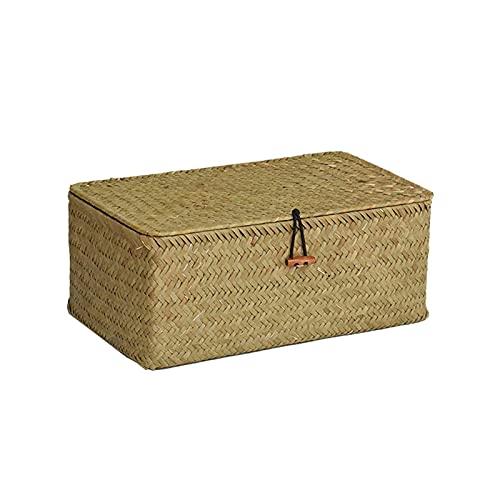 CML Cestas de Almacenamiento Tejido Hechas a Mano Canasta de lavandería Almacenamiento de hogar Caja de Almacenamiento Rectangular con Tapa Dries Organizer Box