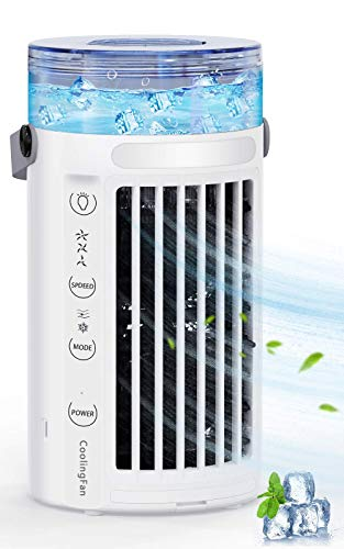 Portable Air Conditioner Fan,Personal Air Cooler Fan,Humidifier,Purifier,3 IN 1 Evaporation Cooler,with 7 Color Night Light Waterbox,3 Speeds for Office Home Room Camping