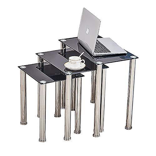 HomeSailing EU Small Glass Nesting Table Rectangular Nest of 3 End Table with Stainless Steel Legs Set of 3 Coffee Sofa Side Table for Livingroom Bedroom Office Nested Table Black