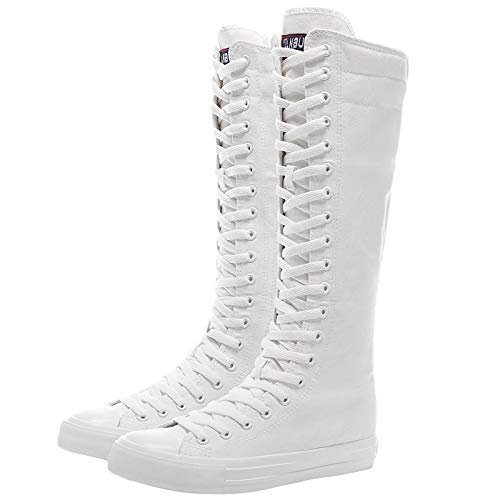 ANUFER Girls Women Fashion Knee High Lace-Up Canvas Boots Pure White Zip Dance Boots SN811 US8.5
