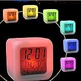 Alaso Réveil en Ligne,Reveil Matin,Réveil de Voyage, 7 Couleurs Lumière de Nuit Réveils numériques Cube LCD LED de Nuit...