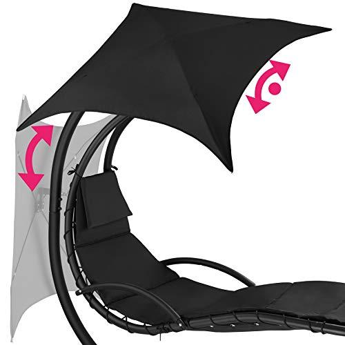 TecTake 800699 Hängeliege mit Gestell und Sonnendach mit UV Schutz, 195 x 118 x 202 cm, ergonomisch geformte Liegefläche, inkl. Sitz- und Kopfpolster – Diverse Farben – (Schwarz | Nr. 403074) - 4