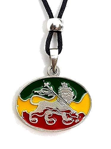 Eclectic Shop Uk Löwe von Judas Anhänger Rasta Bob Marley Ragga Jamaika Flagge Perlen Schnur Halskette