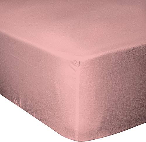 Home Linge Passion - Sábana Bajera (180 x 200 cm, 25 cm, 57 Hilos, algodón), Color Rosa