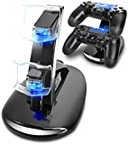 Ozvavzk Dock Station Stand PS4 Dual USB Base Controller PS4 Stand con Indicador LED Compatible con Sony Playstation 4/PS4 Pro/PS4 Slim Mando Inalámbrico Gamepad