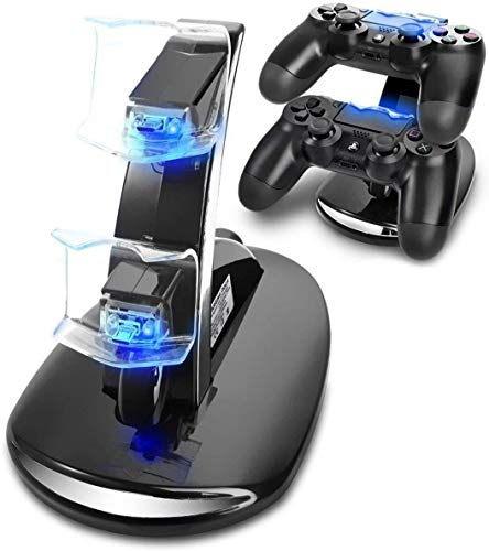 Ozvavzk Dock Station Stand PS4 Musou USB Dual Base Controller PS4 Stand con Indicador LED Compatible Sony Playstation 4/PS4 Pro/PS4 Slim Mando Inalámbrico Gamepad.
