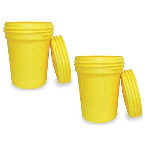 28.25 Height 30 gallon Capacity 22.5 Diameter Eagle 1600SL Yellow High Density Polyethylene Lab Pack Drum with Plastic Screw-on Lid