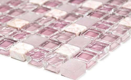 Mosaikfliese Transluzent rosa Glasmosaik Crystal Stein rosa BAD WC Küche WAND MOS92-1002_m