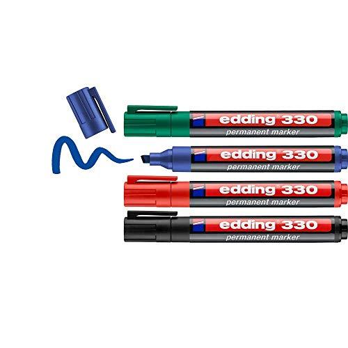 edding 330 Permanentmarker - schwarz, rot, blau, grün - 4 Stifte - Keil-Spitze 1-5 mm - wasserfest, schnell-trocknend - wischfest - für Karton, Kunststoff, Glas, Holz, Metall, Glas