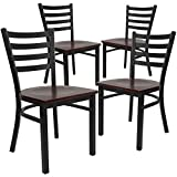 Flash Furniture 4 Pk. HERCULES Series Black Ladder Back Metal Restaurant Chair - Mahogany Wood Seat
