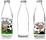 IBILI 743109- Botella de Vidrio Transparente para la Leche, 900ml, 8x 8x 27cm