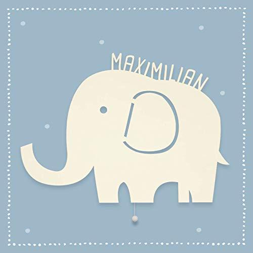 Nachtlicht Elenor der Elefant Kinderzimmer-Lampe/Tauf-Geschenk oder zur Geburt/Personalisiert mit Wunsch-Name für Mädchen oder Jungen Schlummerlicht Babyzimmer Stilleuchte [Energieklasse A++]