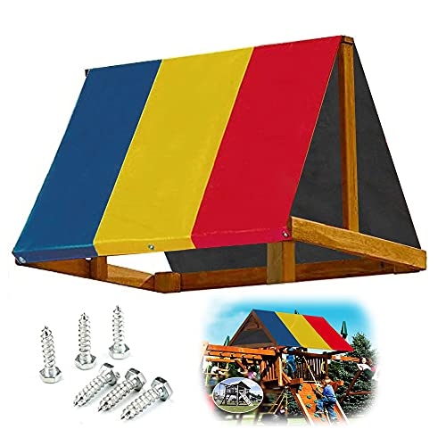 "ORK 89""×52"" Swing Set Replacement Tarp Backyard Wood Playset Swing Set Playground Replacement Canopy tarp Swing kit Waterproof and Outdoor Sunproof (RYB)"