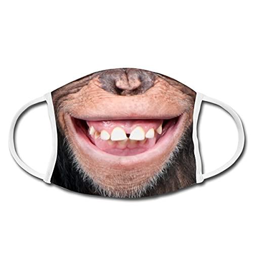 Spreadshirt Schimpanse Lächeln Lachen Lustig Mund-Nasen-Bedeckung, Weiß