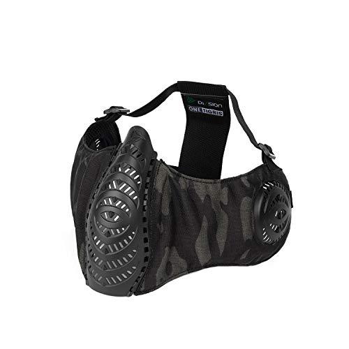 OneTigris Faltbare halbe Gesichtsschutz Airsoft Maske Mesh Maske für Softair Paintball CS (Multicam) |MEHRWEG Verpackung