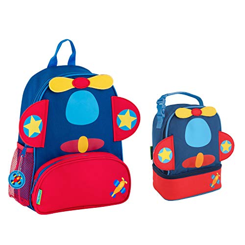 Stephen Joseph Boys Sidekick Airplane Backpack and Lunch Pal Combo for Kids