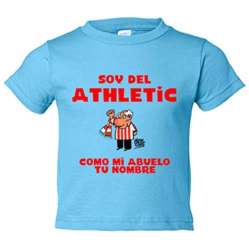 Camiseta niño soy del Athletic de Bilbao como mi abuelo personalizable con nombre - Celeste, 5-6 años