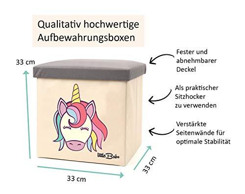 little Babo Kinder Aufbewahrungsbox I Spielzeugkiste mit Deckel für Kinderzimmer I Spielzeug Box (33x33x33) zur Aufbewahrung im Kallax Regal I faltbar, groß und stabil zum sitzen – Tiermotiv Einhorn - 5