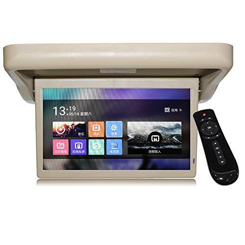 LZHYA Monitor De Techo De Coche, Car Stereo Player MP5 con Pantalla Abatible, Overhead Car TV Pantallas, Sistema Operativo Inteligente, 1920 * 1080, 15 Pulgadas (Grey)