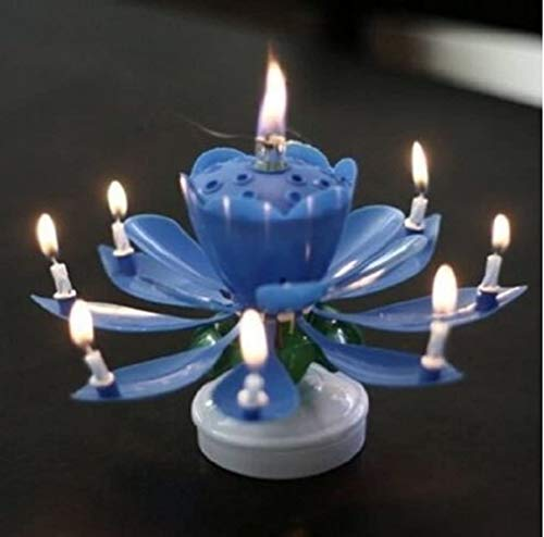 REAL ACCESSORIES 2 PACK BLUE MUSICAL ROTATING BIRTHDAY CANDLE Rotating Lotus Flower Music Birthday Candle Blossom Party Cake Music Candle
