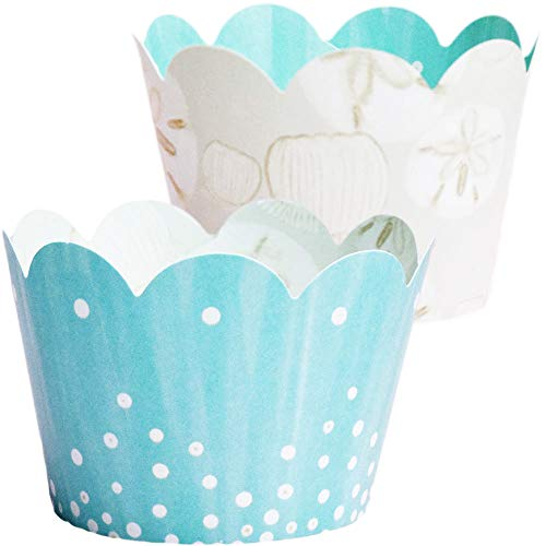 Under the Sea Cupcake Wrappers  36 Mermaid Baby Shower Decorations Island Beach Theme Retirement Party Supplies Wedding Dessert Table Decor Aqua Blue Bridal Shower Favor Bag Holder