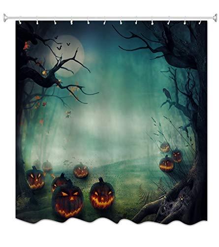 A.Monamour Gothic Nacht Kürbisse Spuk Baum Halloween Thema Druck Heim Dekoration wasserdichte Duschvorhänge Textil Tischdecke 180X200 cm / 72