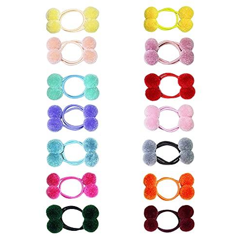 28 Pcs Pom Ball Hair Ties for Baby Girls, Elastic Pom Pom Hair Band Assorted Color Ponytail Holders for Toddler Girl Kid