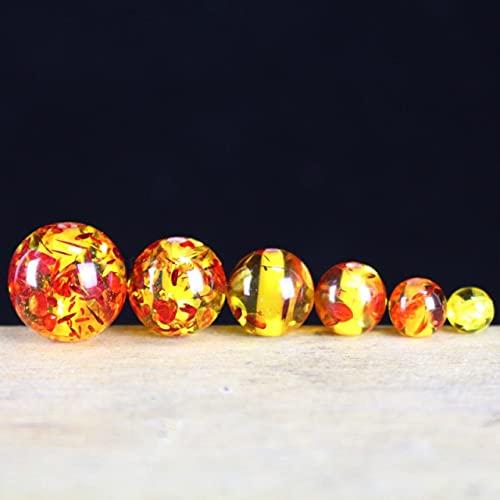 JIUXIAO 100 unids/Lote Bonitas Cuentas Redondas de Flores de Color ambarino 6Mm 8Mm 10Mm 12Mm Pulsera Hecha a Mano de Resina/Collar Espaciador DIY joyería