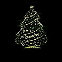 HOHHJFGG クリスマスツリー3DナイトライトLEDイリュージョン3ライトLED7色変更USBリモートタッチベッドルームクリスマスデコレーションベストギフト