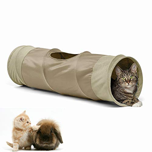 LeerKing Túnel de Juguete Plegable para Gatos Tubo y Túnel para Animales Pequeños Gatos Conejos Cachorros Cobayas Mascotas 90 * 25CM Beige