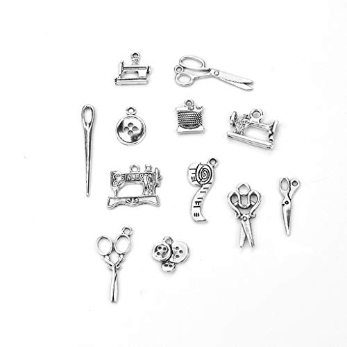 JunYe 12 Piezas Colección de encantos de Costura Tijeras de Plata Antigua Colgante Resultados de la joyería