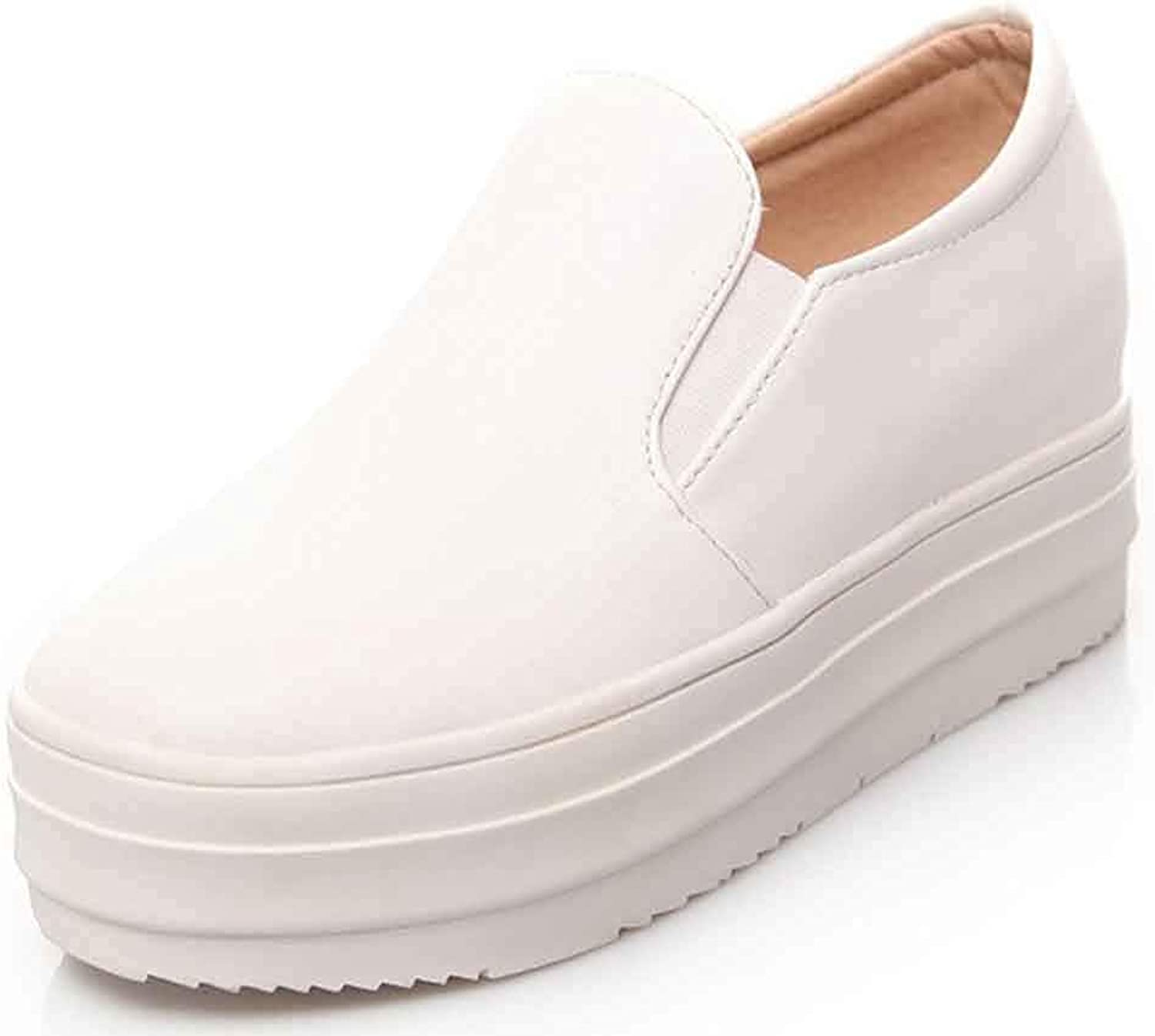 Women's Platform Chelsea Sneakers - Round Toe Low Cut Slip On - Hidden Wedge Middle Heel Thick Sole