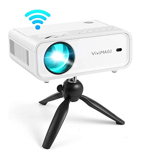 VIVIMAGE Explore 2 WiFi Mini Projector 6500L Movie Projector with Synchronize Smartphone Screen, 1080P Supported Compatible with TV Stick, PS5, HDMI, USB, Included Tripod (2021 Upgrade)