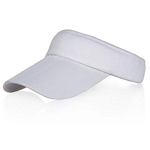 Veatree Weiß Sonnenblenden für Frauen und Männer, Lange Brim Dickere Schweißband Einstellbare Velcro-Hut für Golf Radfahren Angeln Tennis Jogging und andere Sportarten