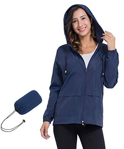 JTANIB Women's Lightweight Packable Waterproof Hooded Rain Jacket S-XXL Navy Blue