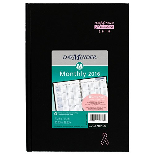DayMinder Monthly Planner 2016, Premiere, Breast Cancer Awareness, Pink Ribbon, 7.88 x 11.88 Inches, Black (G470P-00) Photo #1