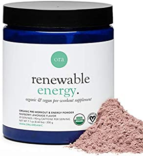 Ora Organic Natural Pre Workout Powder- Raspberry Lemonade Flavor- Vegan Certified Organic, Soy-Free, Dairy-Free, Gluten-F...