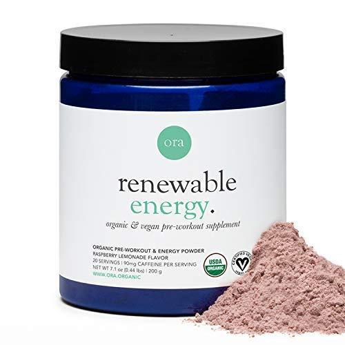 Ora Organic Natural Pre Workout Powder- Raspberry Lemonade Flavor- Vegan Certified Organic, Soy-Free, Dairy-Free, Gluten-Free- Provides Jitter-Free Energy Boost for Women & Men, 20 Servings