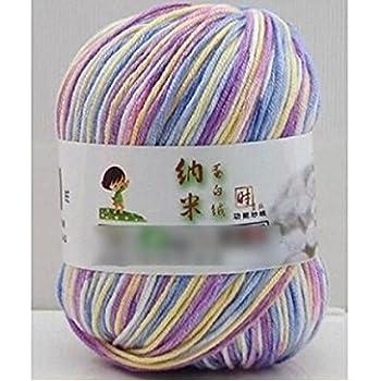 King.MI Leche Suave Suave algodón Natural Mano Tejer artesanías de Lana de bebé de Lana Hilo Bola: Amazon.es: Hogar