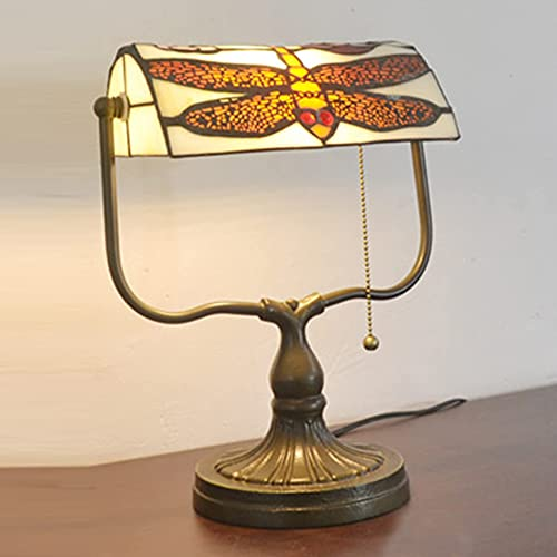 sgvaga Tiffany Dragonfly Style Bankers Lámpara de mesa, cristal colorido, diseño de...