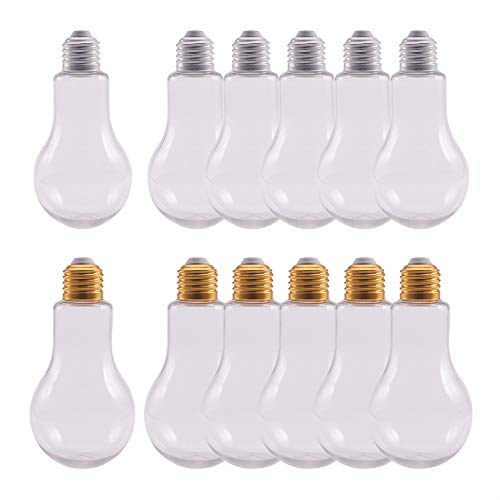 NBEADS 12 Packs Plastic Light Bulb Shaped Bottle with 200ml Capacity, Plastics Jars with Lids for Party Decor and Ornaments Storage, Golden and Silver