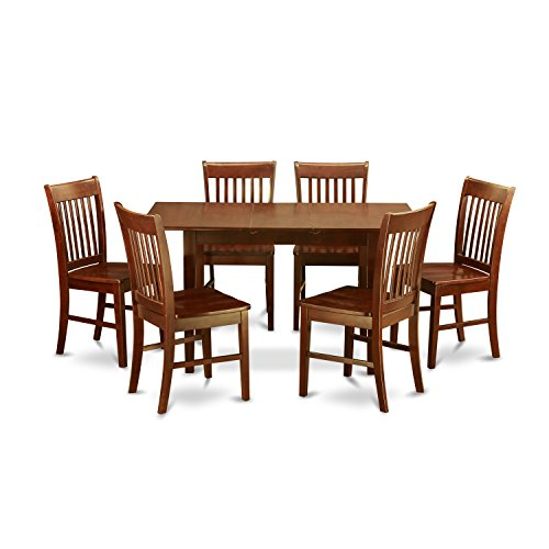 7 Pc small Kitchen Table set - Table with Leaf and 6 Dining Chairs