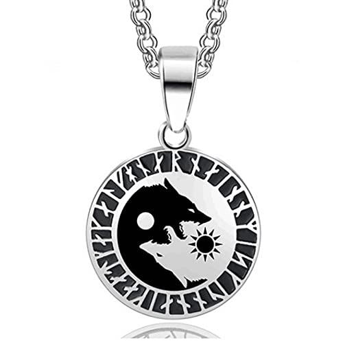 XIABME Amuleto nórdico runas vikingas Yin Yang Lobo Vegvisir Aegishjalmur Colgante Collar Mujeres Hombres, nórdico escandinavo Odin símbolo talismán joyería (Color : Silver, Size : 60cm)