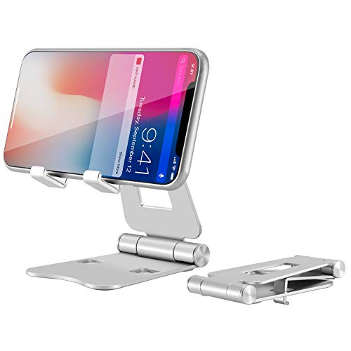 Cell Phone Stand, SOOSISI Adjustable Cell Phone Stand for Desk, Foldable Cell Phone Holder for Desk, Aluminum Phone Cradle Dock Compatible with iPhone 12 Pro Xs Max Xr X 8, iPad Tablet Office Silver