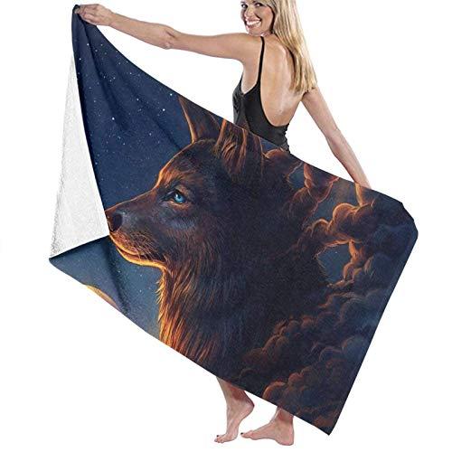 LREFON Wolf in Cloud Toallas de baño Toalla de Ducha de Secado rápido a la Moda Toalla de natación de Playa Suave con Personalidad (31.5X51.2 Pulgadas)