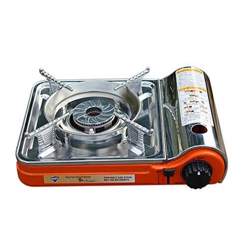 Cocina de gas portátil portátil al aire libre Barbacoa Grill hornillos de camping quemador doble lzpff